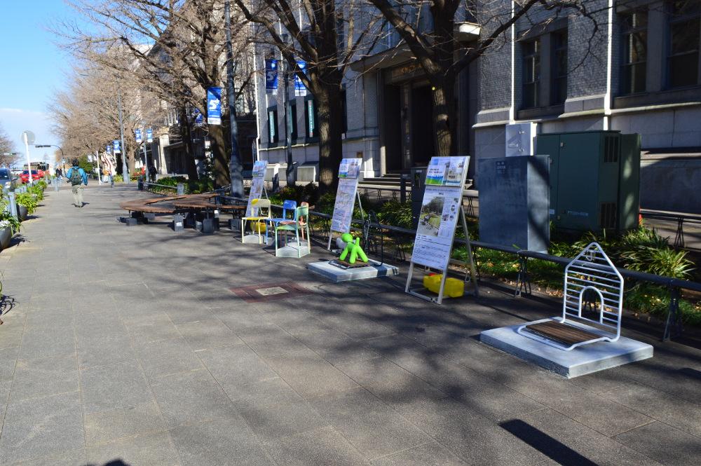 日本大通りでは優秀賞3作品が一挙に展示されていました!photo by ㈱キクシマWEBSITE