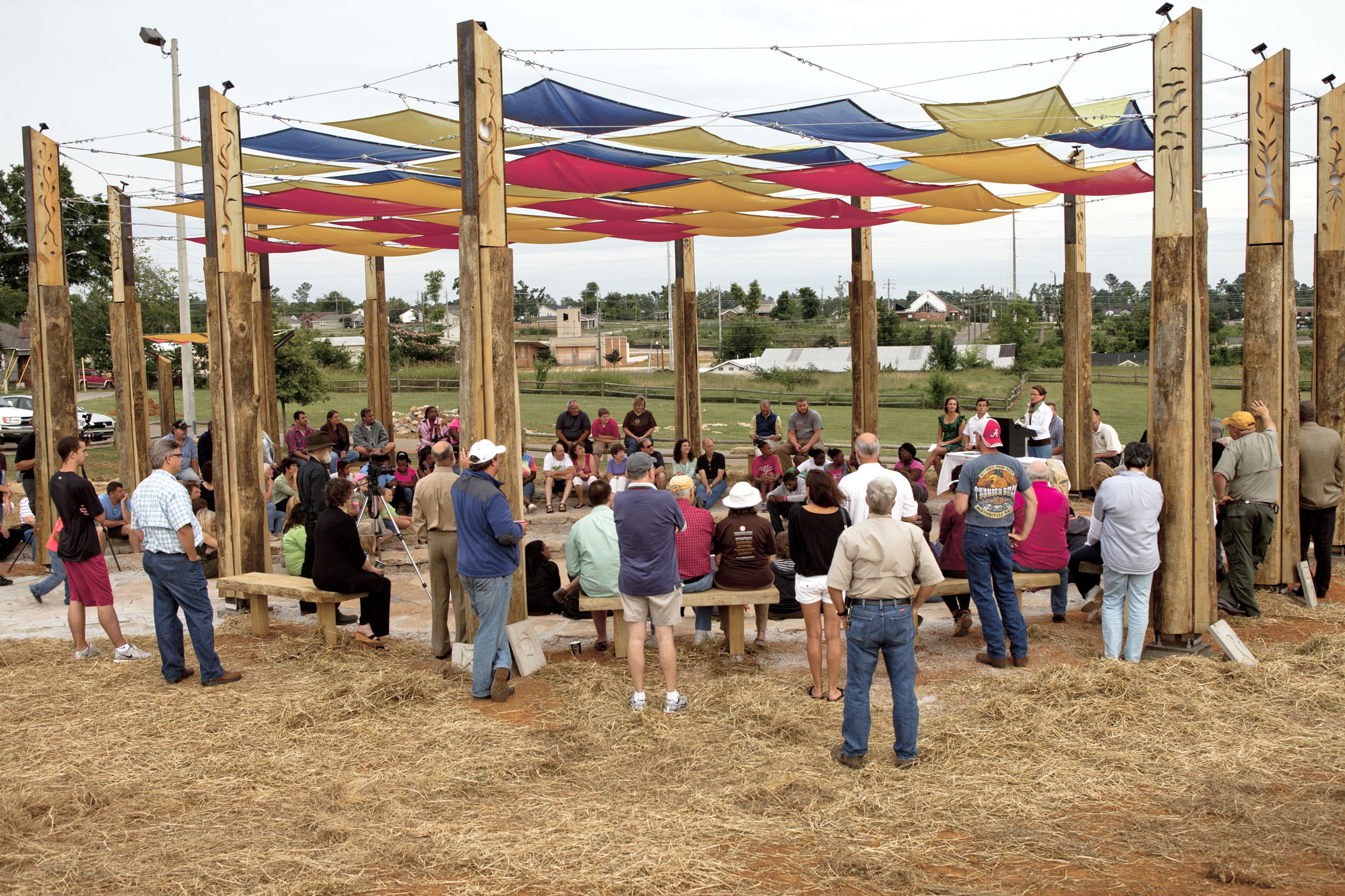 Volunteers helped build the Alberta Gathering Place in Tuscaloosa, Alabama, with the help of Seattle's Pomegranate Center and Tully's Coffee.