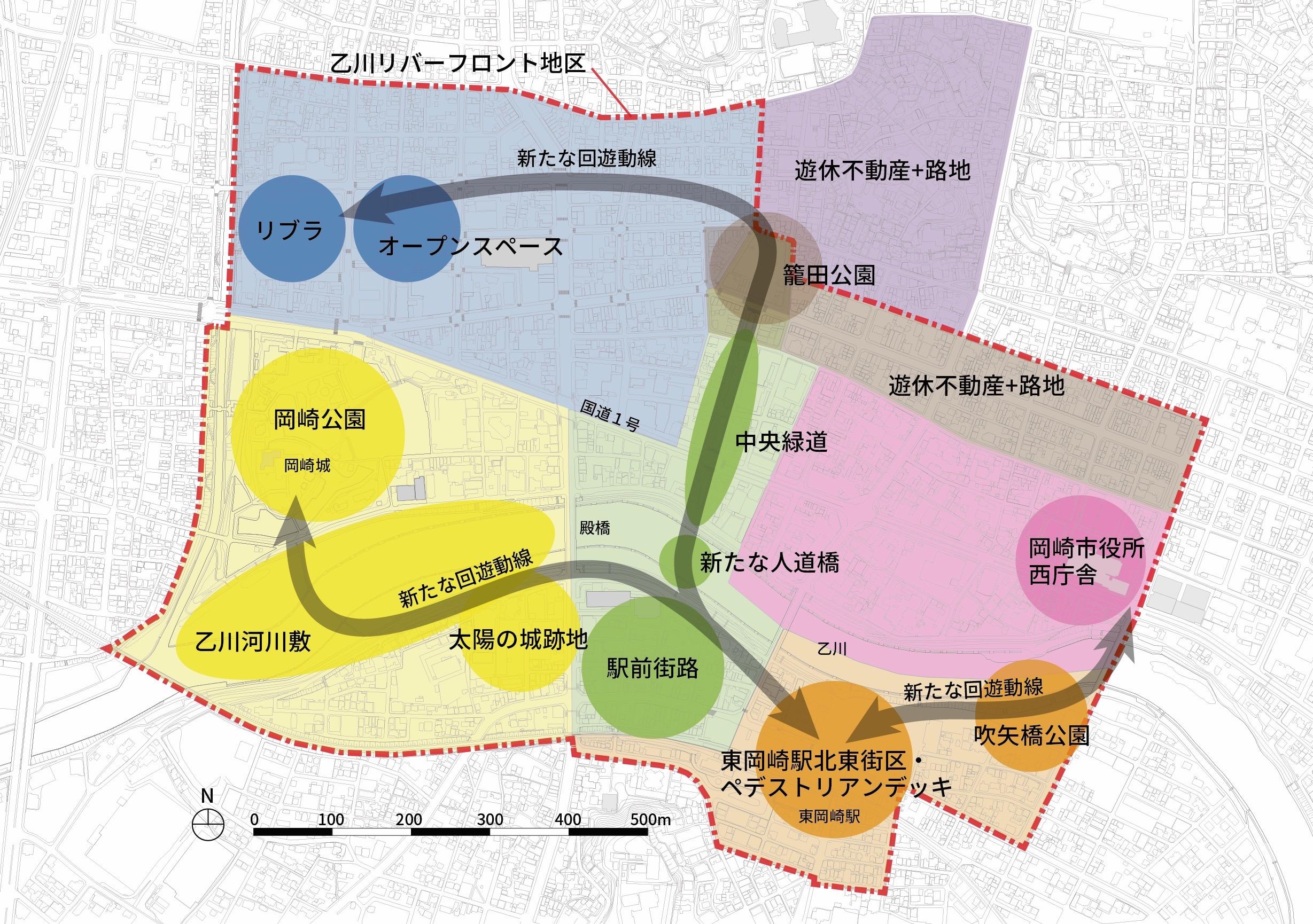 街にある様々な施設や空間を公民連携で整備したり民間投資を誘発することで、リバーフロント地区全体の魅力や回遊性を高めることを狙う「まちづくりデザイン基本構想」の概略イメージ(筆者作成)