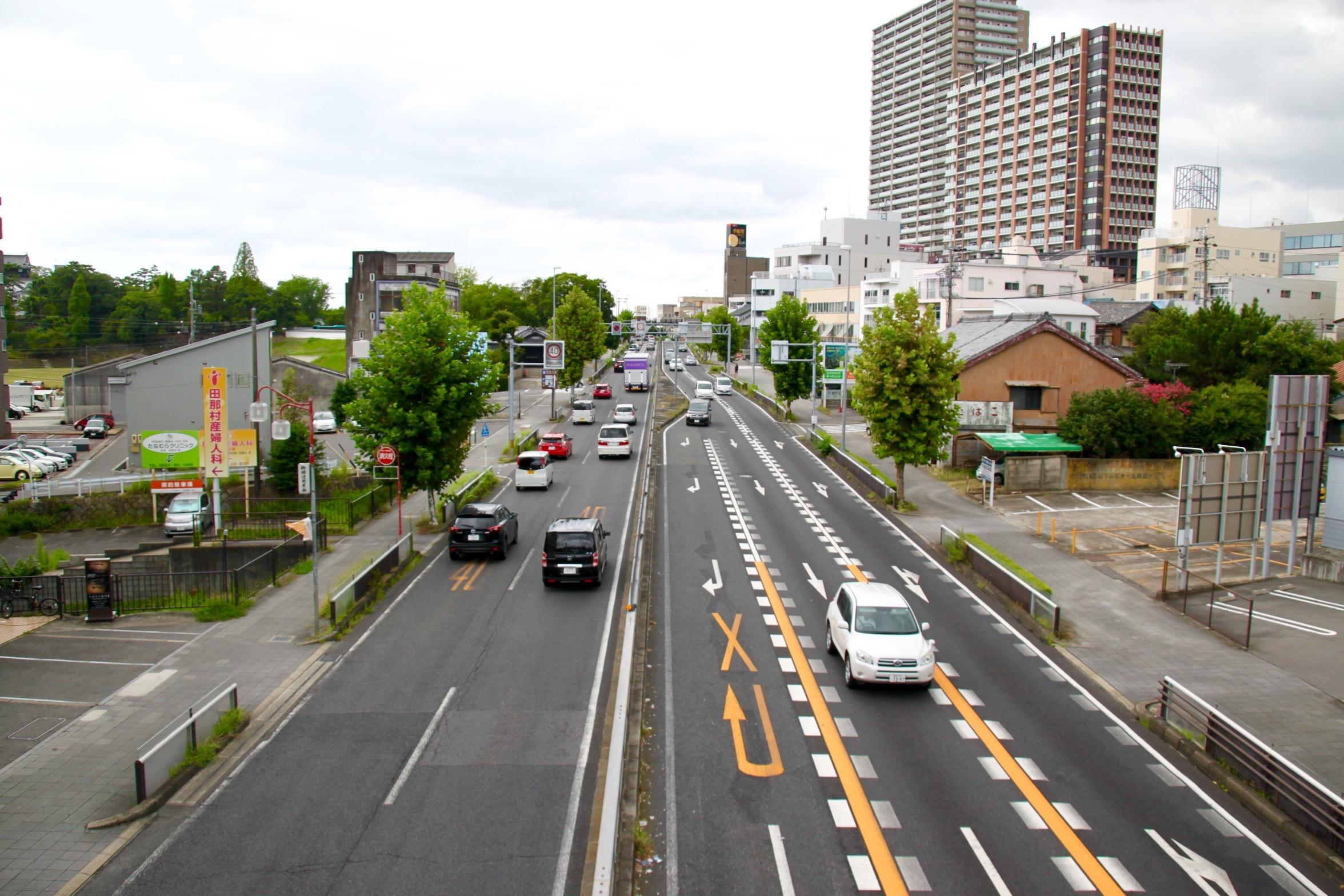 岡崎の中心市街地の外に伸びていく国道1号 Photo by 遠藤翼