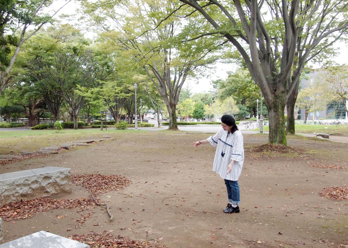 三栗野さんが通う千葉大学西千葉キャンパスの正門近くにある「かたらいの森」。ここで交流を生む仕掛けを考えているとのこと。実現が楽しみです!