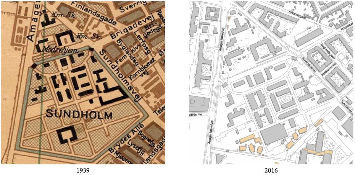 強制労働地域の時代と現在のスンホルムの地図の比較