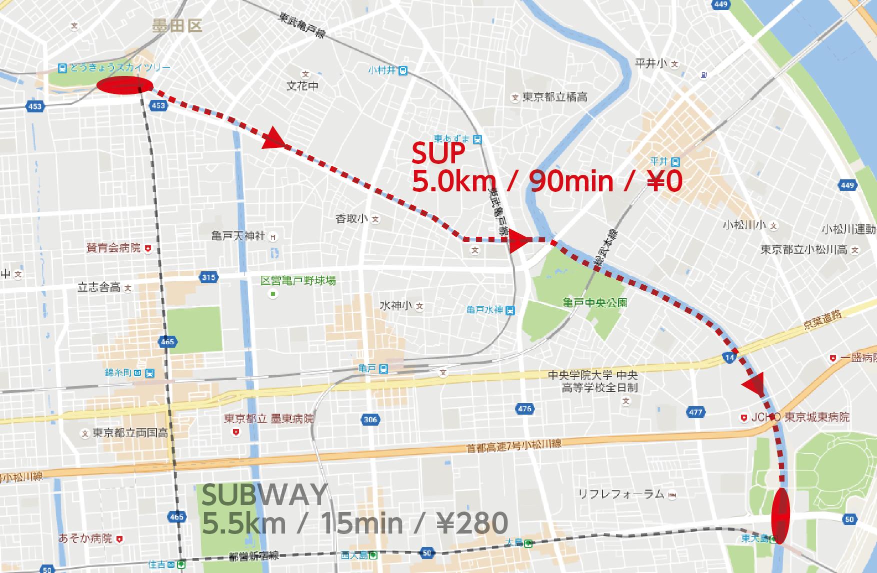 赤い線が実験で通ったルート、グレーの線が地下鉄を使った場合のルート。